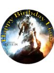 7.5 Personalised Skyrim Elder Scrolls Edible Icing Birthday Cake Topper